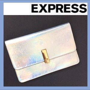 NWT EXPRESS Holographic Turnlock Clutch